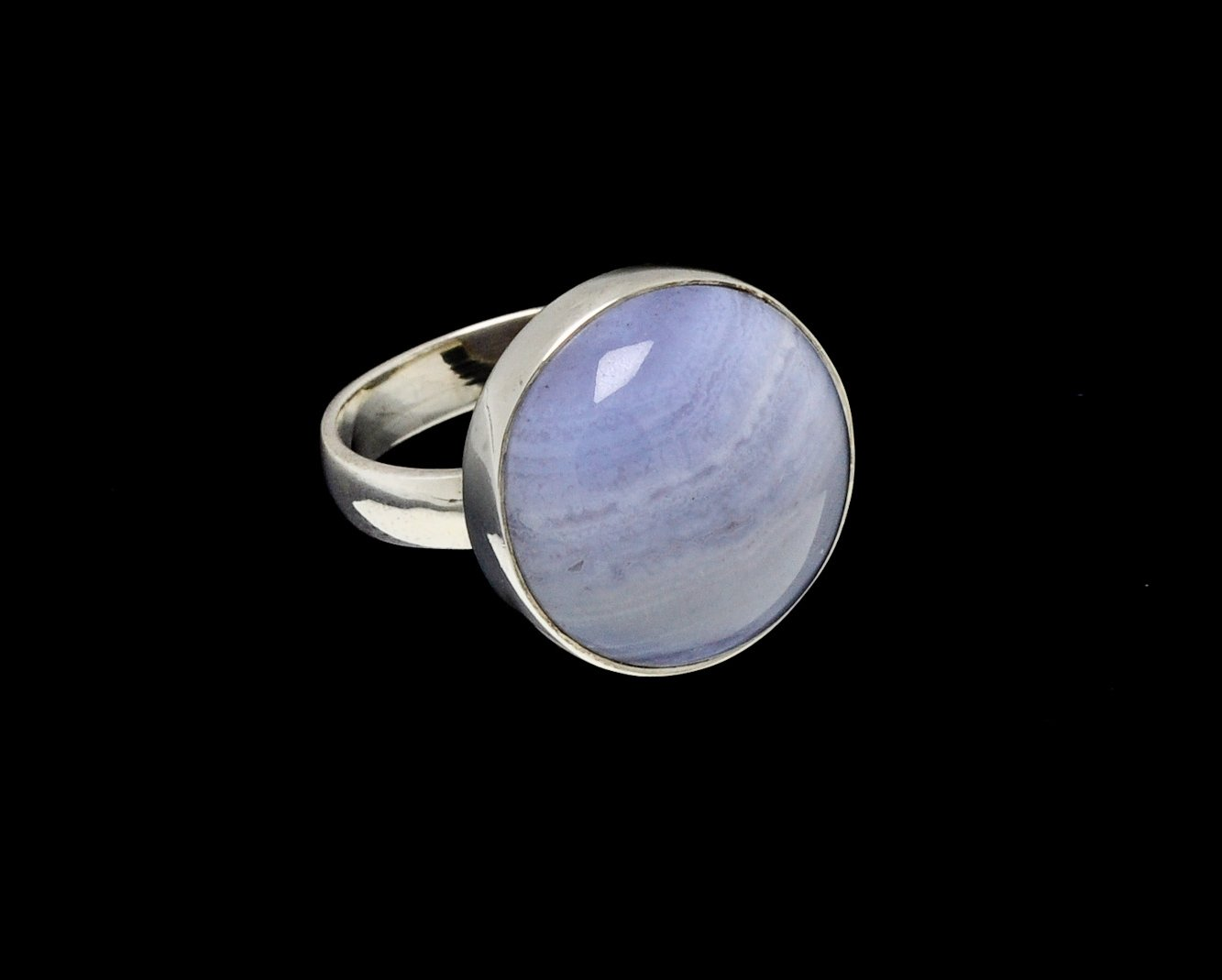 Blue Lace Agate Ring Round