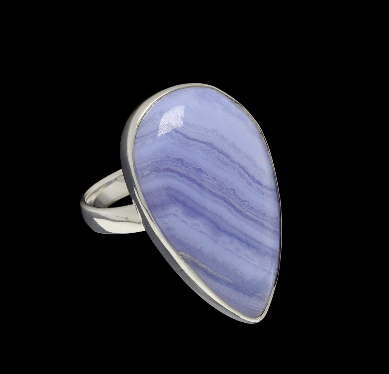 Blue Lace Agate Ring Pear