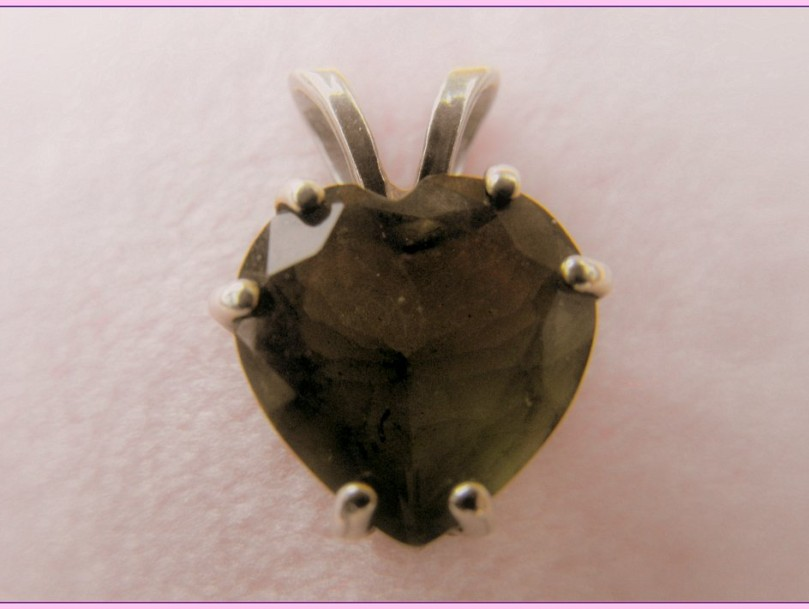 silver moldavite heart