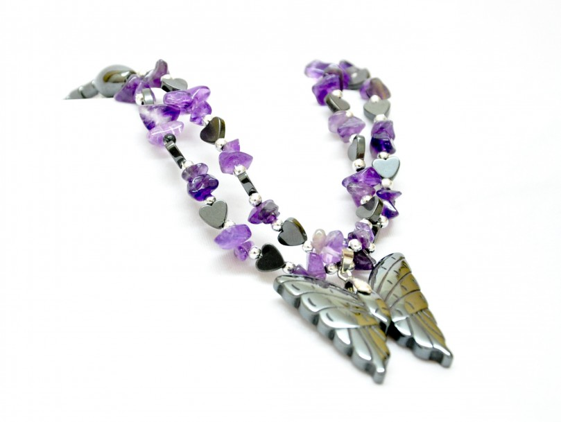 butterfly necklace of hematite and amethyst