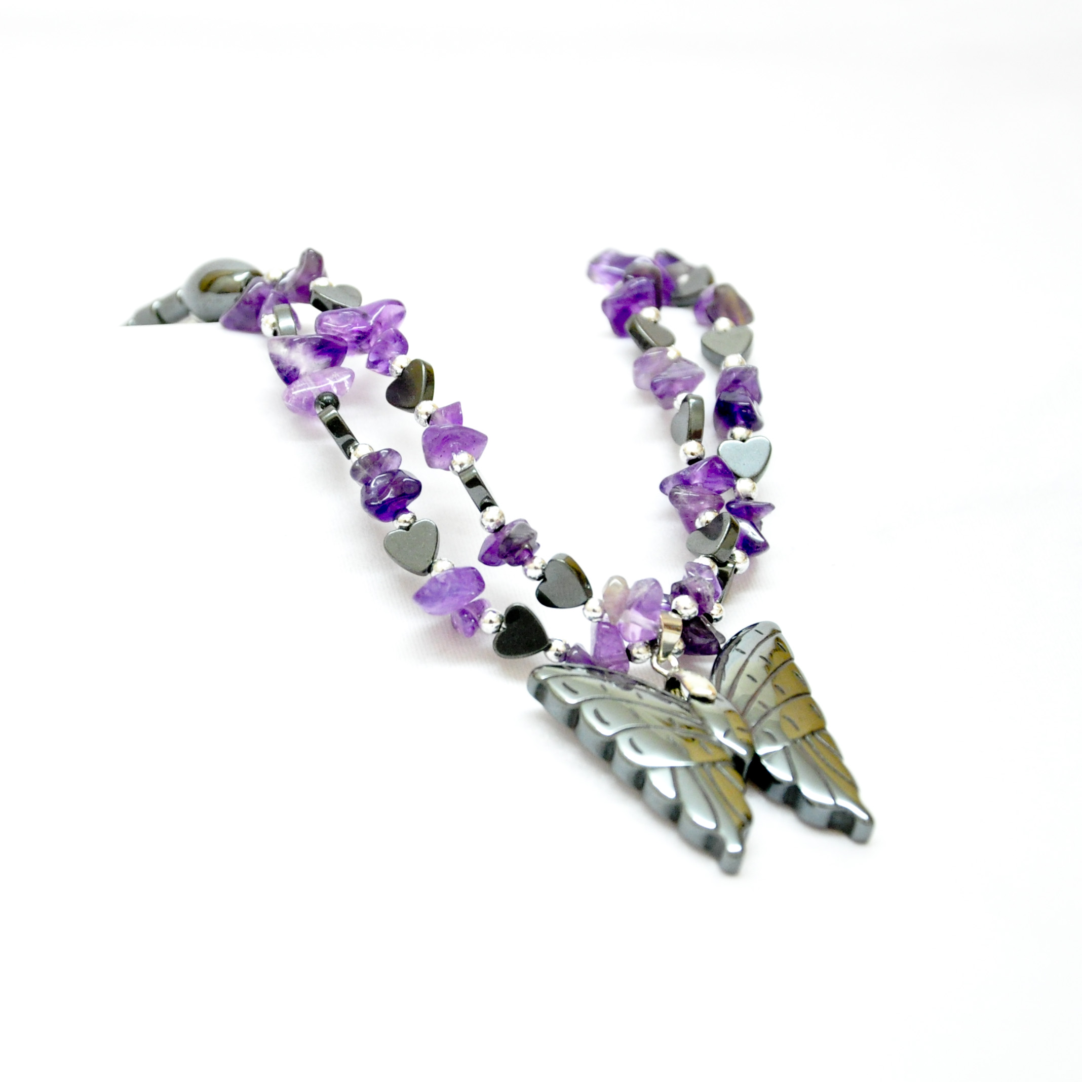 Hematite and amethyst butterfly necklace