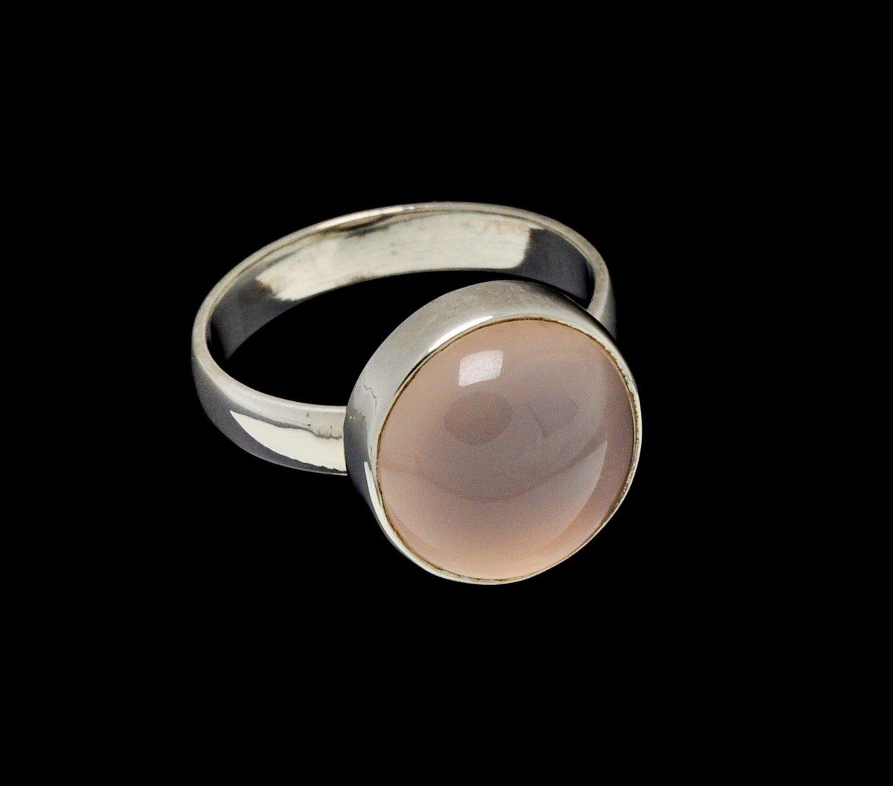 Rose Quartz Ring 14mm Round Cut