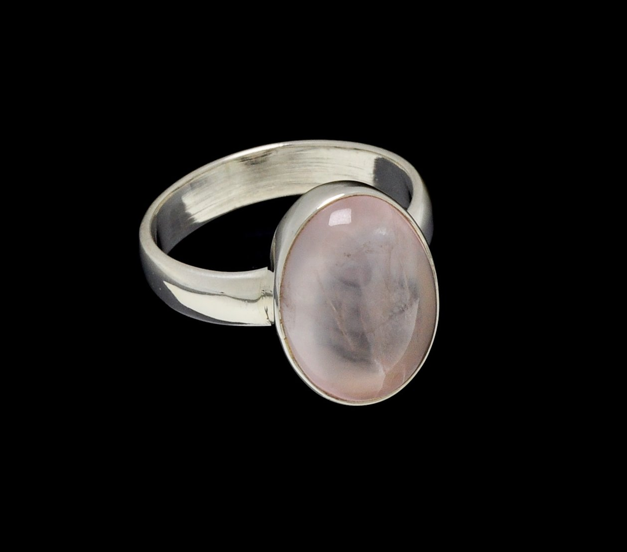 Rose Quartz Ring 15mm x 10mm Oval Cut