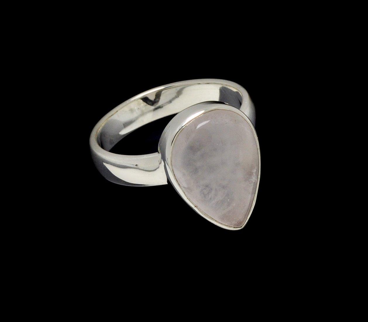Rose Quartz Ring 15mm x 10mm Pear Cut