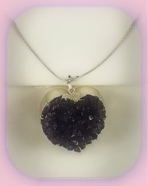 Uruguan Amethyst Heart Pendant approximately 3 x 3 cm; Length of the chain is 60 cm