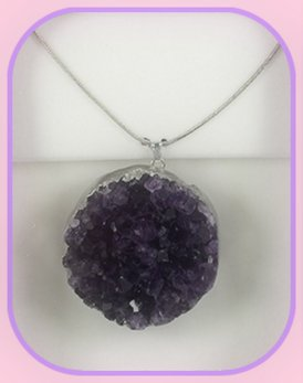 Uruguan Amethyst Round Pendant approximately 3 x 3 cm; Length of the chain is 60 cm