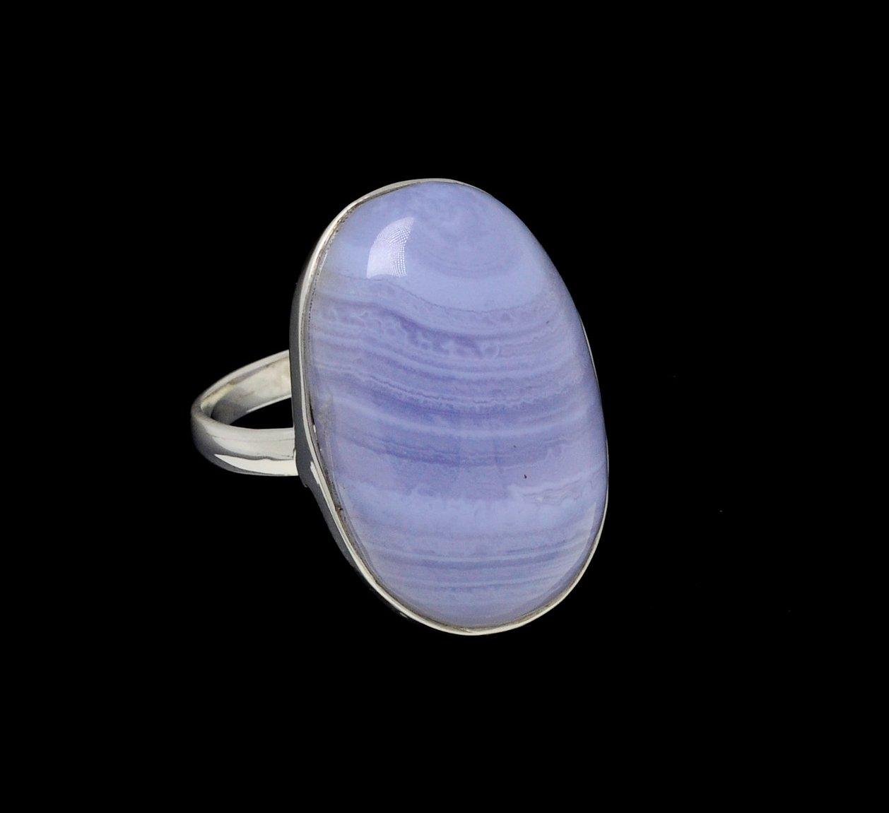 Blue Lace Agate Ring Oval