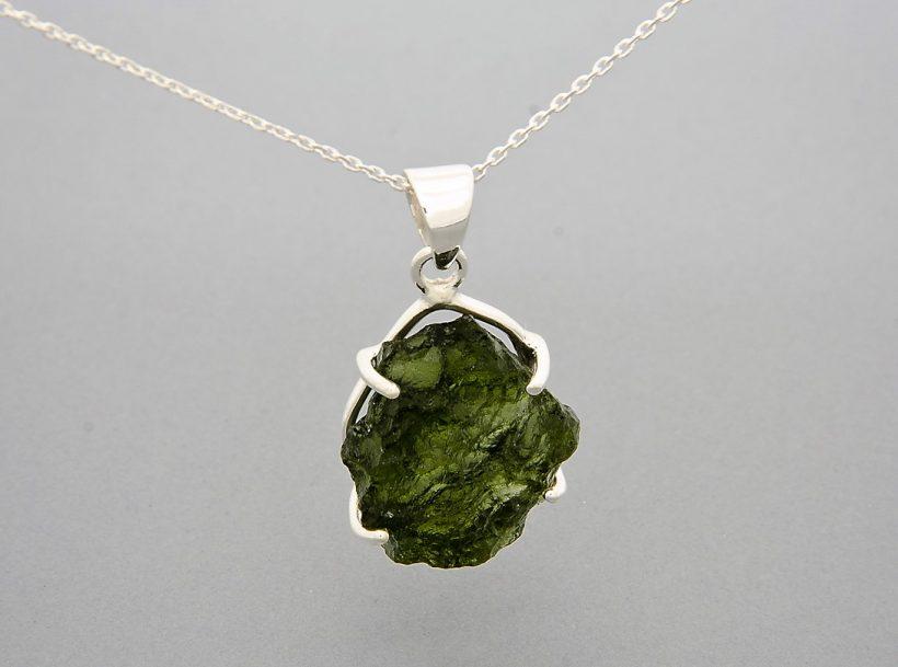 Large claw set silver moldavite pendant