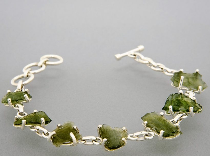 moldavite silver bracelet