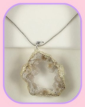 Rough Sliced Geode Pendant approximately 3 x 3 cm; Length of the chain is 60 cm